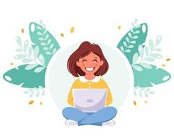 Girl studying with computer. Online learning, back to school vector