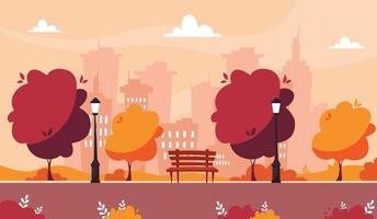 Parque de otoño con banco, árboles y arbustos en el fondo de la ciudad vector