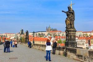 Prague, Czech Republic, Apr 14, 2016 - Charles Bridge and Old Town Tower photo