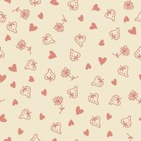 Doodle style strawberries flowers and red hearts love seamless pattern vector