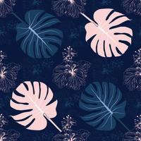 Seamless floral pattern pink Hibiscus flowers and  leaf on background. vector