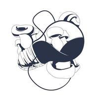 mushroom lamp inking illustration artwork vector