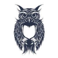 owl inking illustration artwork vector