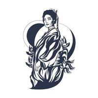 geisha inking illustration artwork vector