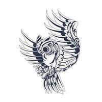 owl ornament inking illustration artwork vector