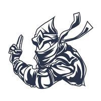 ninja war mascot logo inking illustration artwork vector