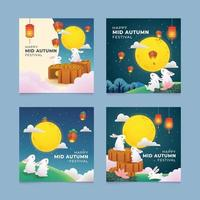 Set of Mid Autumn Festival Greeting Card vector