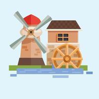 farm scenery flat design vector ilustration