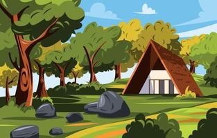 Autumn Scenery with a House vector