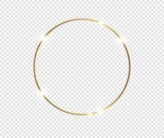 Gold shiny glowing frame with shadows isolated background vector