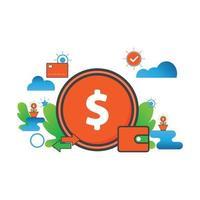 money illustration. Flat vector icon.