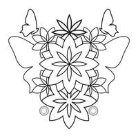 coloring book page.  beautiful flower petals illustration vector