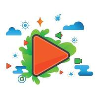 play button illustration. Flat vector icon.