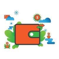wallet illustration. Flat vector icon.