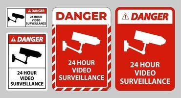 Danger Sign CCTV 24 Hour Video Surveillance vector