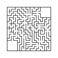 Abstract square maze with entrance and exit. An interesting and useful game for children. Simple flat vector illustration isolated on white background. With a place for your drawings.