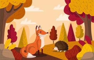 Autumn Forest with Animals Background vector