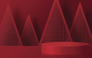 Christmas and New Year podium background. vector