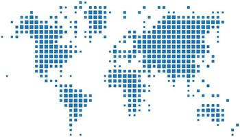 Square shape world map on white background vector