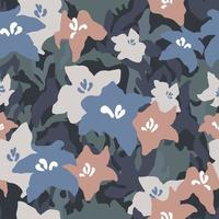 Vector abstract shape Lily flower illustration seamless repeat pattern