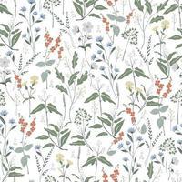dibujado a mano flores silvestres motivo de ilustración patrón de repetición perfecta vector