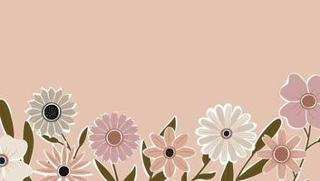 Horizontal backdrop decorated with blooming flowers and leaves border. vector