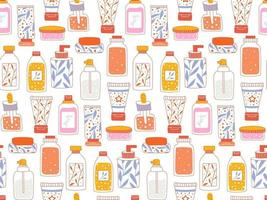 Seamless repeating pattern with cosmetics. A set of bottles and tubes vector