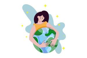 The girl holds the planet, the globe. Beautiful for design. vector