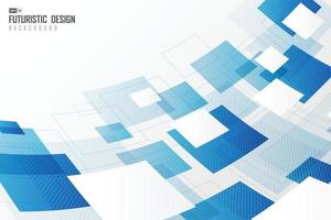 Abstract distort of square and white blue technology artwork. vector