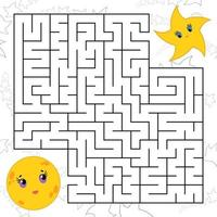 Abstract simple square isolated labyrinth. vector