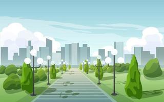 City Skyline Background With Park vector