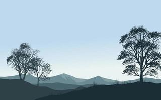 Nature Background With Silhouette of trees and mountain vector
