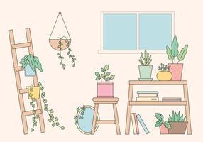 Home gardening interior vector