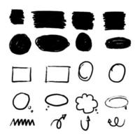 Hand drawn arrow set, collection direction sketch symbol vector