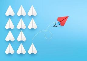 concepto de negocio mínimo como grupo de avión de papel en una dirección. vector