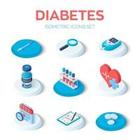 Diabetes - isometric icons set. vector