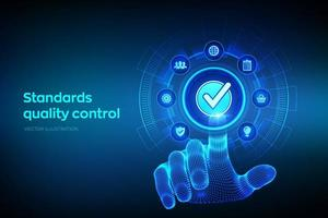 ISO standards quality control assurance warranty business technology. vector