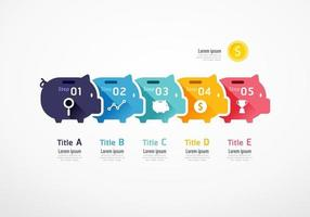 Piggybank infographic. Business concept. Vector slide template.