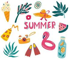 Set  summer icons Tropical leaves drink ice cream flamingo sunscreen vector