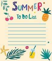 Summer to do list. Summer hand drawn blanks with tropical leaves vector