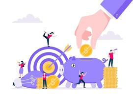 Crowdfunding composition concept of fundraising. vector