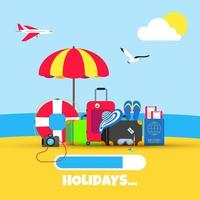 Summer holiday tropical vacation travel flat style design composition. vector