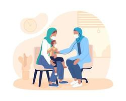 Child checkup with parent 2D vector isolated illustration
