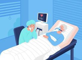 Comatose patient in intensive care unit flat color vector illustration