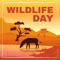 Wild fauna protection social media post mockup vector