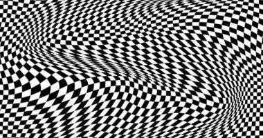 Black and white distorted checkered background vector