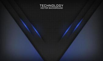 Abstract 3D black technology background overlap layer with blue light vector