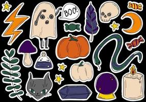 Doodle Mystical Collection Halloween Set stickers vector illustrations