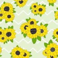 pastel green pattern with sunflowers zig zag fabric Seamless vector