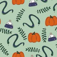 green pattern with doodles snakes potion plant pumpkins halloween vector
